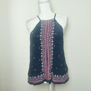 Floreat Anthro Navy and Pink Embroidered Blouse
